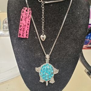 Betsey Johnson Silver Turtle Necklace